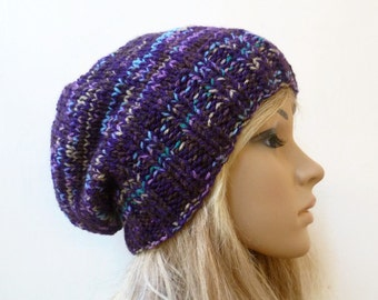 Sale Slouchy Beanie Knitted Hat, Women Purple Multi Colour Slouchy Beanie Hat, Chunky Hand Knitted Acrylic Slouch, Clickclackknits