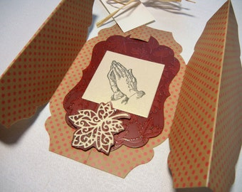 Handmade Gatefold Card Praying Hands Autumn Colors Thanksgiving Card Sympathy Card Thinking of You Other Occasions: Includes White Envelope