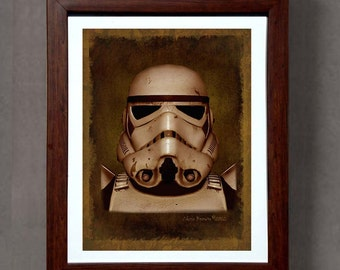 "Fine Art Print: - ""Vintage Stormtrooper portrait from the original Star Wars"" - 8"" x 10"" Giclee print, Star Wars Fan art, Nerd Gift, Geekery"