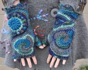 Ocean Floor Freeform Crochet Fingerless Gloves // Ooak Fiber Art Armwarmers