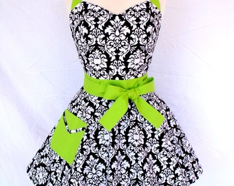 Damask with Green Apron Sweetheart Style Chartreuse Trim Rockabilly