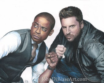 """Color Drawing Print of James Roday as Shawn Spencer and Dule Hill as Burton """"Gus"""" Guster in TV's PSYCH (8.5 x 11)"""