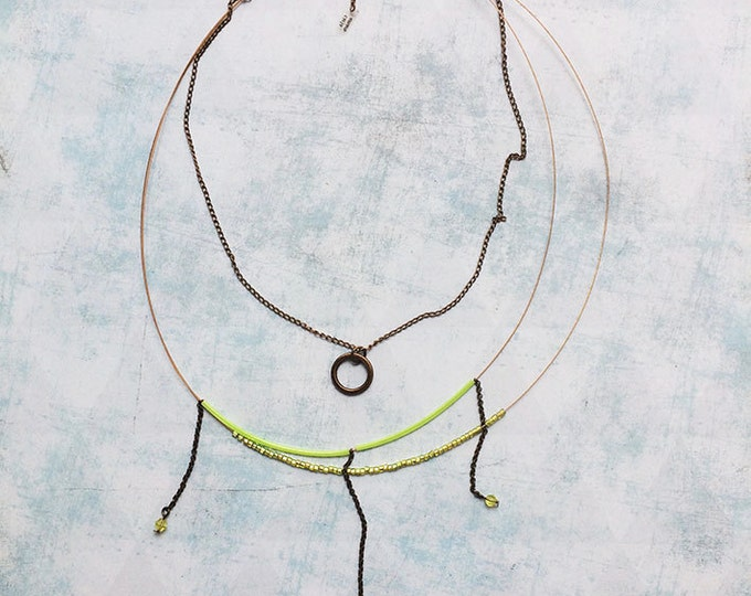 Delicate necklace with 3 laps - seed beads - lime green necklace - multi stands - brass