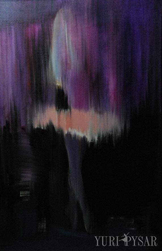 Abstract Ballet - Purple Violet Ballerina - Dancer Painting - Ballerina Art by Yuri Pysar - Purple Wall Art