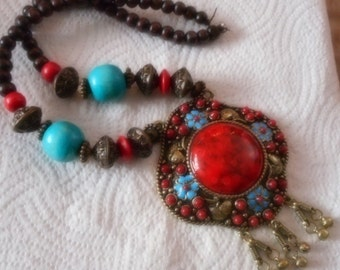 Large statement red resin and wooden beaded handmade big pendant necklace christmas present party
