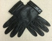 vintage leather gloves // black kidskin gloves // Guibert Freres // size 6.5 // 1950s 1960s