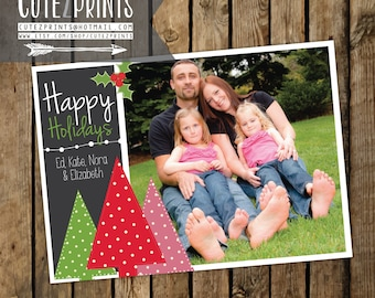 Trees and Holly- Happy Holidays Card