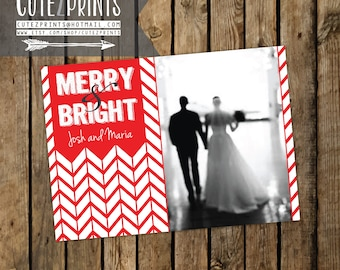 Merry and Bright Chevron Christmas Card