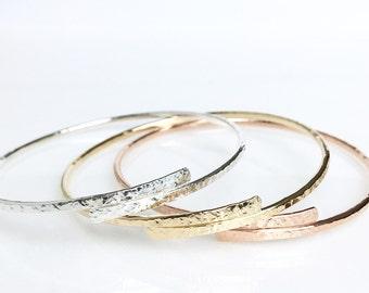 Circular Bypass Stacking Bangles / Sterling Silver or 14k Gold Filled Textured Bangle Bracelets / Tri-Color Bangle Set / Gift for Her