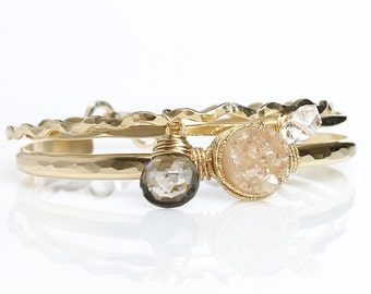 Champagne Druzy Bracelet / Bridal Jewelry Bracelet Set / Gold Druzy Smoky Quartz Bracelet / Herkimer Diamond Bangle Gift for Her