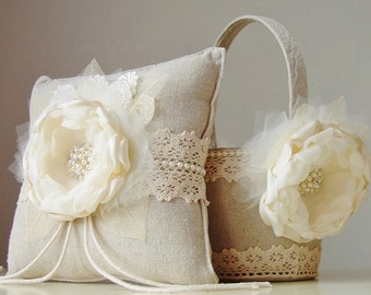 Flower Girl Basket,  Ring Bearer Pillow, Wedding, Ivory Flower Girl Basket, Vintage Basket and Pillow Set