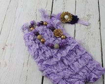 Lavender Gold 1st Birthday Outfit Lavender Lace Romper Lavender Gold Chunky Necklace Lavender Gold Headband Sofia the First  Outfit
