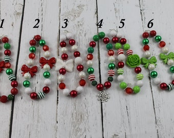 Christmas Necklace, Baby Girls Christmas Necklace Christmas Bubblegum Necklace  Christmas Girls Chunky Necklace Childrens Jewelry Necklace