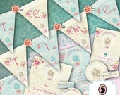 75% OFF SALE TEA Time Digital Collage Sheet Tea Party Kit Digital Collage Banners Cupcakes toppers Invitations Thank you cards Instant Downl