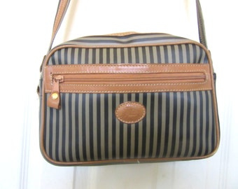 Allan Edward Designer Shoulder Bag Coated Canvas & Leather Trim Striped Sage Green Black