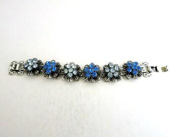 Link Bracelet Silver Tone Floral Blue Crystals Book Chain Links