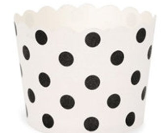 BAKING CUPS - White with Black Polka Dots - Set of 25 : The Paper Doll