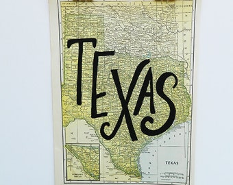 Texas Vintage State Map