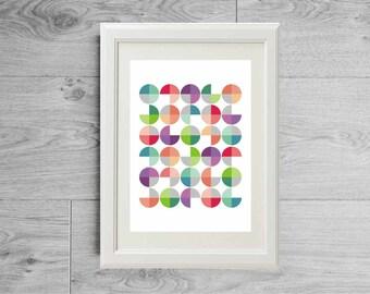 Geometric print with colorful circles, Geometric wall art, Scandinavian print, Geometric poster, Inspiring poster, Minimalist art