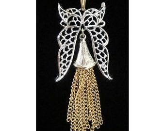 1970s Vintage Silver and Gold Tone Owl Pendant with Chain Tassel