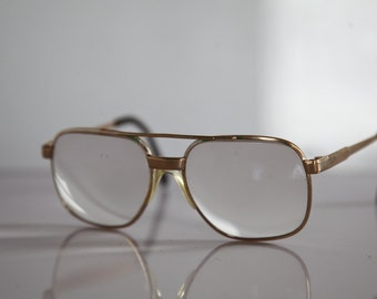 Vintage 80s Gold Aviator Frame,  Clear RX Prescription Lenses. Made in Germany