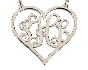 Sterling Silver Heart Monogram Necklace 1.2""