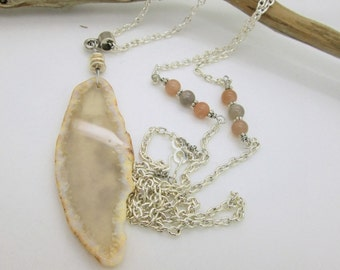 Long Gemstone Pendant Slice Necklace, Natural Agate Slice Necklace, Long Chain Necklace