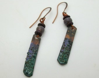 Boho Copper Plank Earrings, Artisan Enameled Copper