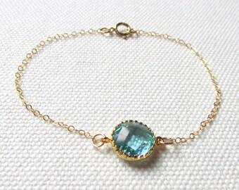 Gold Aquamarine Bracelet Faceted Aqua Blue Glass Crystal Stone Bezel Gold Filled Pretty Bracelet Dainty Jewelry, Minimalist