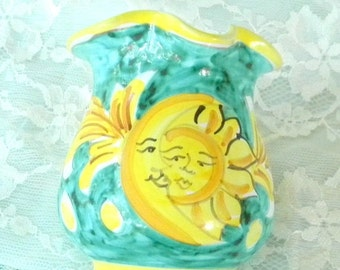 End of Summer Sale Yellow and Teal Sun and Crescent Moon Creamer, Made in Italy, Vintage Item, Vase, Home Decor, Coffee, Tea, Serving