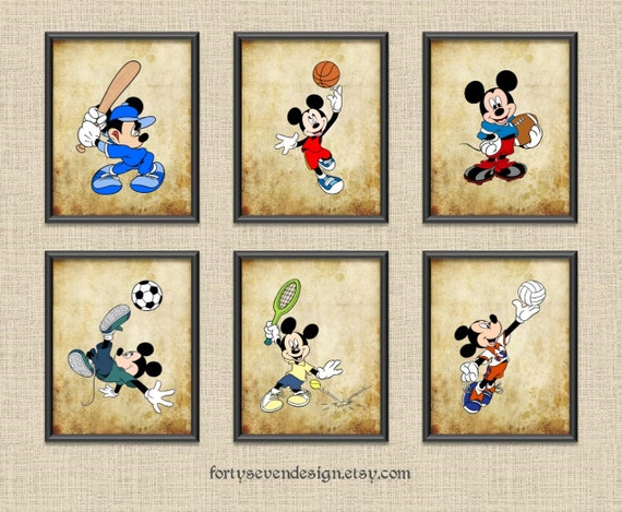 Set of 6 Mickey Sports Vintage Style Printable Wall Art 8x10 by ...