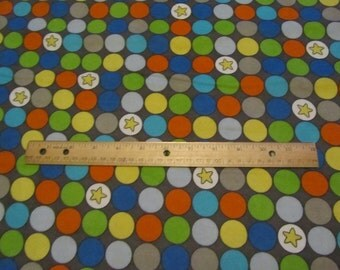 Multicolor Big Dot with Star Flannel lFabric by the Yard