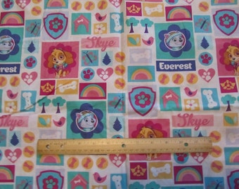 Blue Girly  Paw Patrol Blocked Cotton Fabric by the Yard