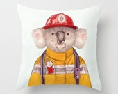Koala Throw Pillow, Koala Firefighter, Kids Room Pillows, Koala Cushion