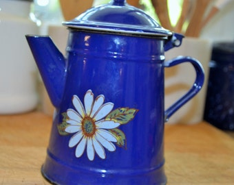 Vintage Cobalt French Enamelware Coffee Pot with Daisies Front and Back, Cobalt Blue Enamelware, Hinged Lid