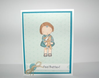 Feel Better Teddy Bear Card-Blue