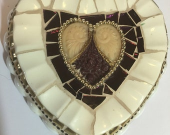 Mosaic heart, art piece made with broken china and other media, FREE SHIPPING