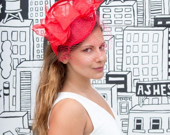 Red Sinamay headband fascinator, accented with veil and feathers