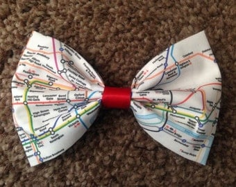 London Underground handmade hair bow