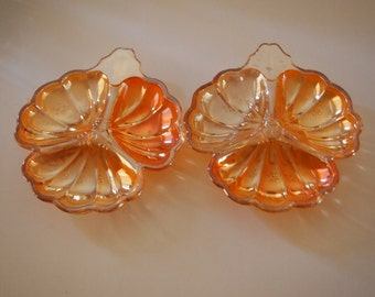 Jeanette Glass Marigold Clover Leaf Dish (Set of 2)