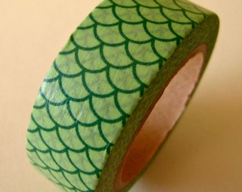 SALE Washi Tape Mermaid Fins in Green 15mm x 10 meters