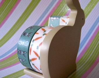 """Washi Tape Double Roll Tape Dispenser by """"Mas Cut"""" Small Bunny Rabbit Includes Tape"""