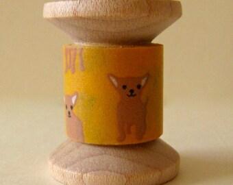 "SALE Designer Washi Tape Mini Spool Single ""Tan Chihuahua "" by DailyLike of Korea..2 yard spool"