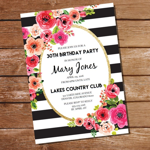 Black And White Stripe Floral Watercolor Birthday Invitation