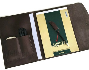 Leather A4 Padfolio, A4 Notepad Cover, Leather Meeting Portfolio, Padfolio Case, A4 Pad Cover, A4 Sketchbook Portfolio, A4 Notebook Folder,