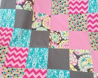 Ready To Complete - Patchwork Baby Blanket - Roco Beat Paisley...Can be Personalized...Shower Chic