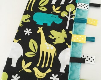 Quick Ship!...Lovey Ribbon Sensory Blanket...Lagoon Zoology with Minky...Can Be Personalized...No Loops