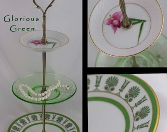 Jewelry Dish Tiered Server 3 Tier Cake Tidbit Stand Green Glass Dessert Jewelry Display Three Tiered Serving Stand Green China Catchall Tray