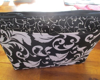 Black and White Cosmetic Bag, Makeup Bag, Bridesmaid Gift