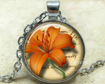 Orange tiger lily art pendant, orange tiger lily pendant, orange tiger lily necklace, lily pendant, lily necklace, Pendant #PL154P